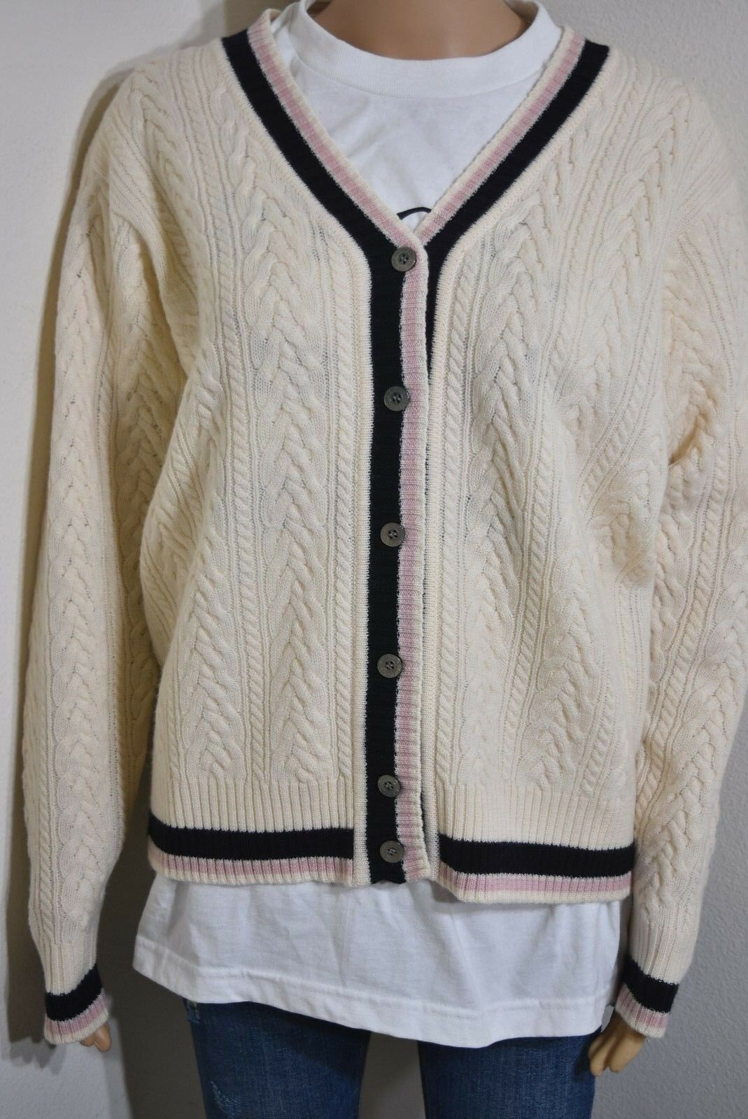 Vtg 90s Evan Picone Cardigan Sweater stripe Wool Ivory Tennis Cable Knit Small