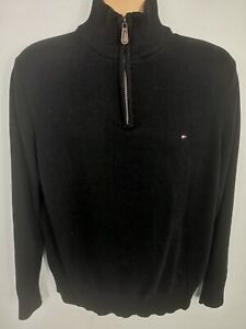 Herren Tommy Hilfiger Baumwoll Strickpullover Quarter Zip Sweater Pullover Size Large L