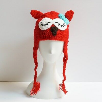 Baby /& Toddler Beanie Crocheted Owl Hat with Ear Flaps 6-24 months