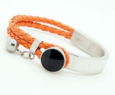 "Unisex Women's Stainless Steel Orange PU Leather Bracelet Black Beads 8"""