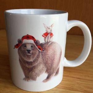 coffee mug winter bear wearing trapper hat squirrel in. Black Bedroom Furniture Sets. Home Design Ideas