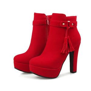 botas tacón de aguja zapatos de tacón mujer 12 rojo cómodo como piel ... e446448b66095