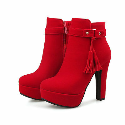 stivali stivaletti stiletto scarpe donna tacco 12 rosso comodi simil pelle 8539