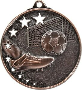 Soccer-Football-Medal-Bronze-50mm-With-Neck-Ribbon-Engraved-FREE
