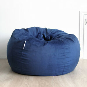 Fur Beanbag Cover Soft Ocean Blue Velvet Cloud Chair Bean