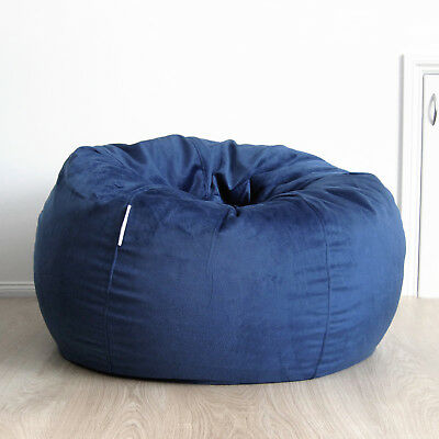 FUR BEANBAG Cover Soft Ocean Blue Velvet Cloud Chair Bean Bag Reading Relaxing