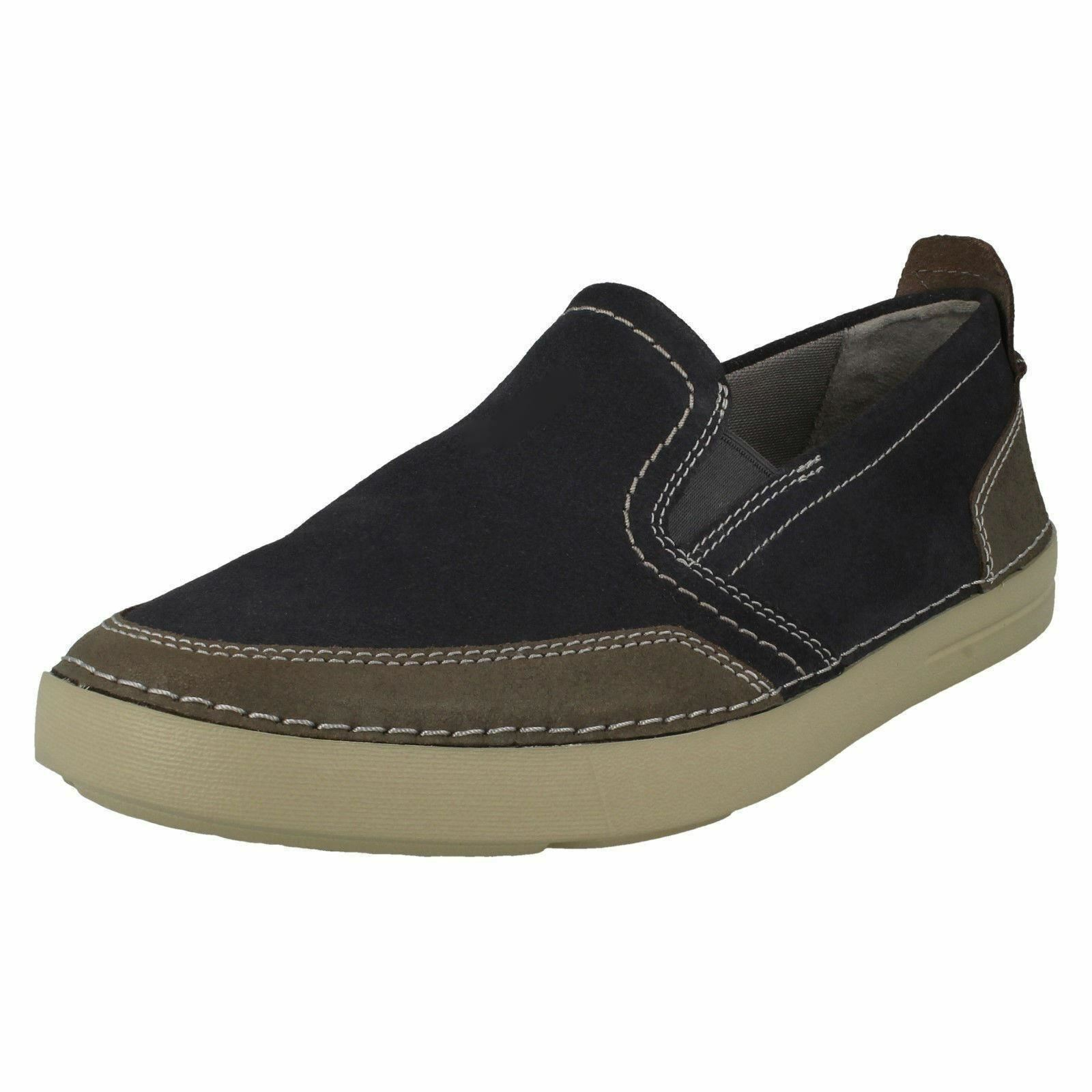 Mens Clarks Gosler Race Blue Suede Lightweight Slip On Shoes