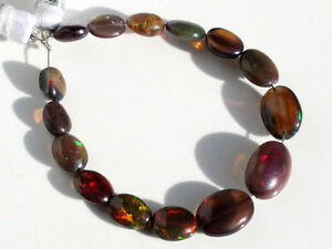 Ethiopian Welo Fire Opal Nuggets Beads Ethiopian Black Opal Smooth Nuggets Black Ethiopian Opal Tumble Beads 4-7 MM 16 Inch Strand #GB17
