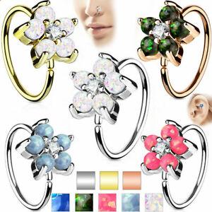 Nose-ring-Cartilage-hoop-Opal-Glitter-Flower-Petals-Center-316L-Surgical-Steel