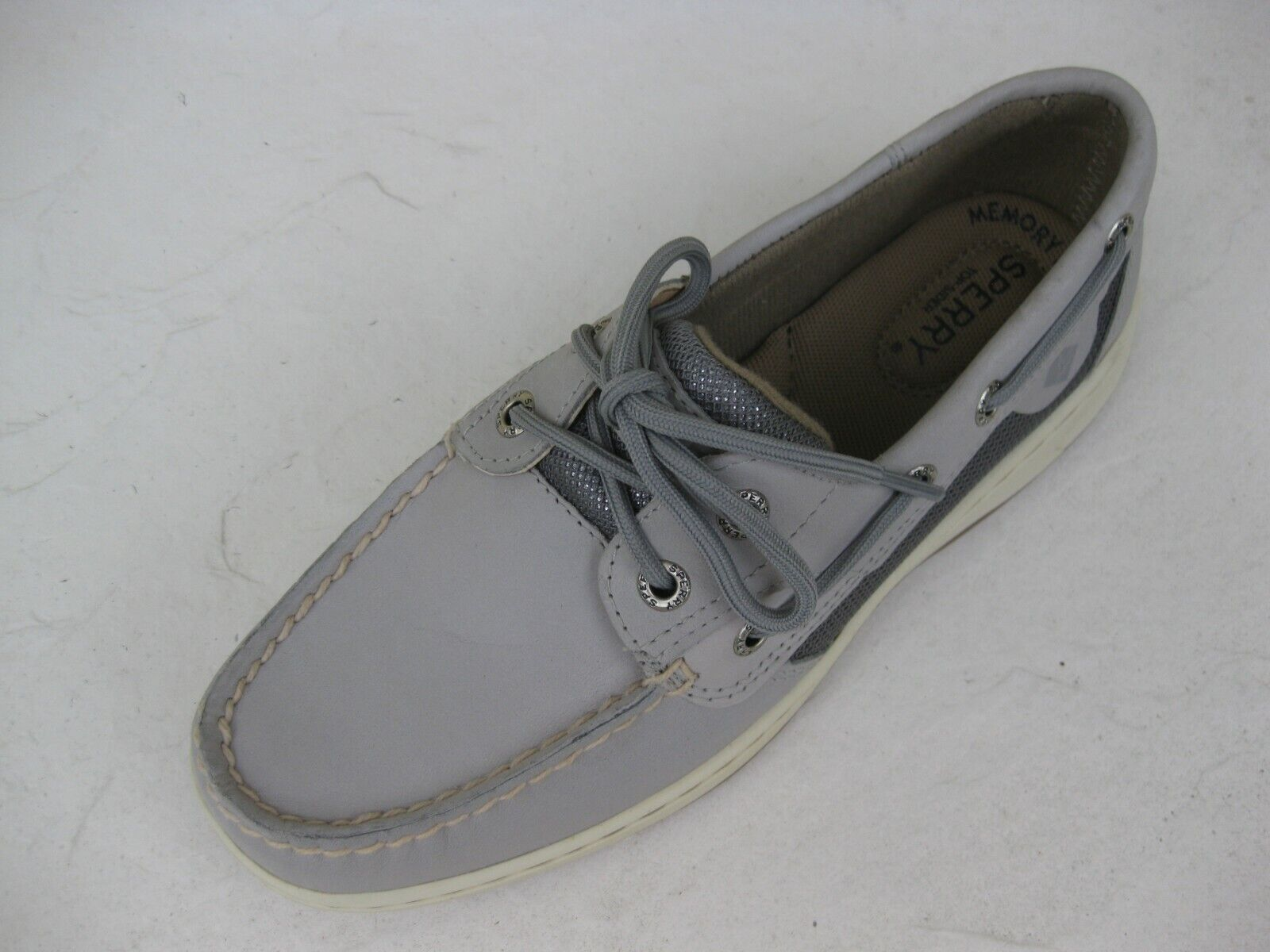 Sperry Topsider Womens Womens Womens shoes NEW  90 blueefish Light Grey Leather Boat 8 M 1c56fb