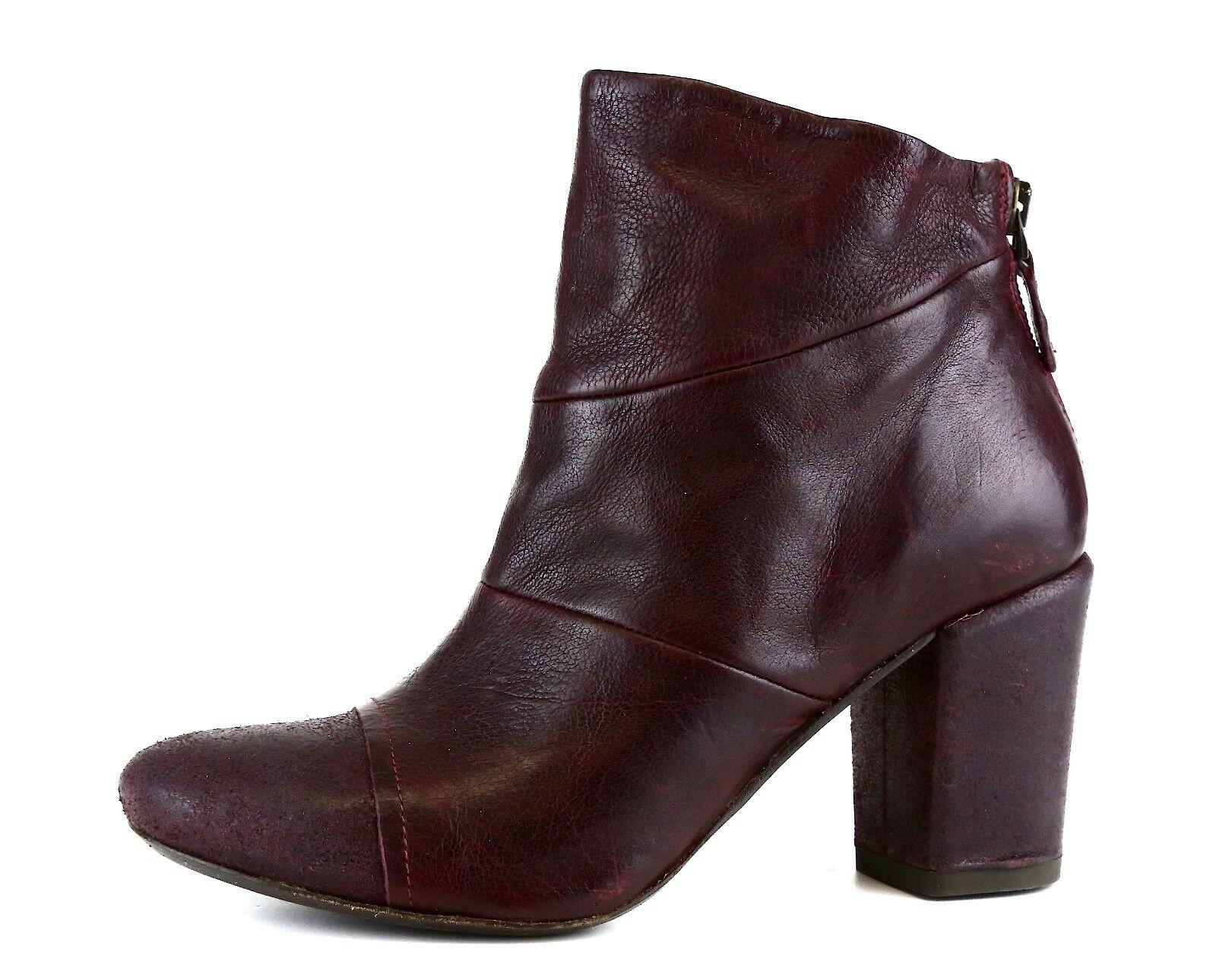 Latitude Femme Side Zip Leather Ankle Boot Burgundy Women Sz 37 5757 *