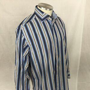 Men-039-s-Robert-Graham-long-Sleeve-Striped-Flip-Cuff-Cotton-Shirt-Size-X-Large