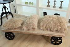 Mongolian Sheepskin Wool Cushion Genuine Long Fur Pillow 40*40(16''x16'')