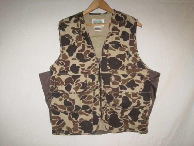 Vintage Old School Camo Hunting Vest Men's M Brown Duck Grouse Upland