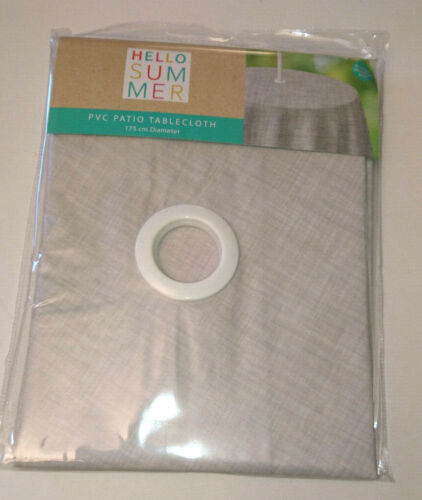 "GREY CROSSHATCH Circular PVC PATIO TABLE COVER w PARASOL HOLE 69/"" Ø ROUND LINEN"