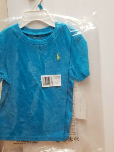 NWT RALPH LAUREN BABY BOYS SOLID CREW LOGO TEE SHIRT choose size color blue gree