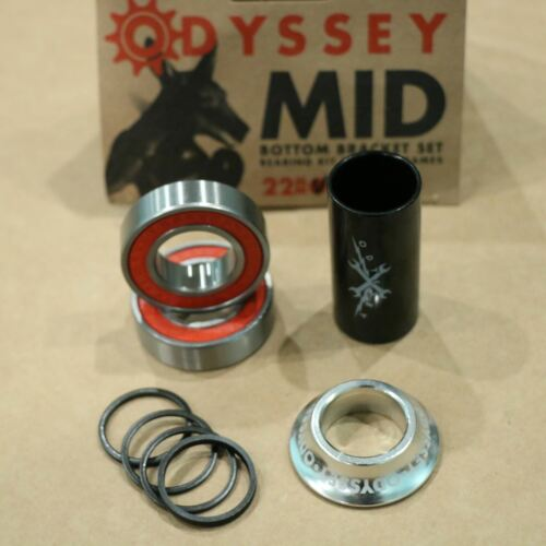 ODYSSEY BMX BIKE 22mm MID BOTTOM BRACKET KIT BLUE POLISHED BICYCLE BEARINGS