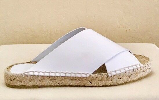 Women Vince Castel Alabaster Leather Espadrille Slide Optic White White White MSRP  225 d6b39a