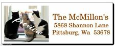Three Kitty Cats In The Window 84 Return Address Labels Glossy Or Matte