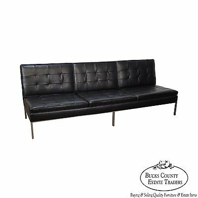 Florence Knoll Mid Century Modern Black Leather Chrome Frame Armless Sofa  (B) | eBay