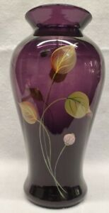 Fenton-glass-vase-Aubergine-Glass-Hand-Decorated-with-stickers