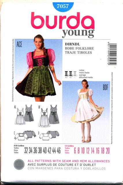 Burda Sewing Pattern Ladies Folklore Dirndel Dress Size 6 - 20 7057 ...