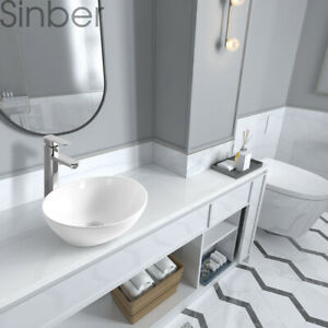 Sinber 16 X 13 Oval Ceramic Bathroom Vanity Vessel Sink Above Counter Basin Ebay
