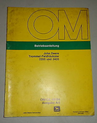 Business, Office & Industrial Other Tractor Publications Knowledgeable Operating Instructions/handbook John Deere Trommel-feldhäcksler 3205 And 3405 Long Performance Life