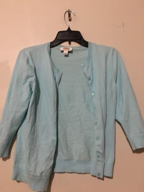 Talbots Aqua bluee Cardigan Size Sp Petite Sweater Women Stylish Cotton Blend