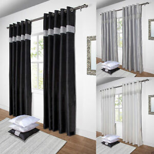 Diamante Lined Ready Made Eyelet Ring Top Curtains Pair Black