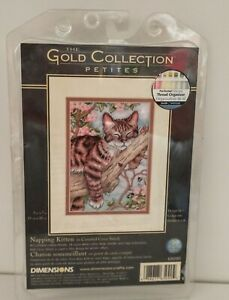 "Dimensions Gold Petites Napping Kitten Cross Stitch Kit 5"" X 7"" 65090 NIP"