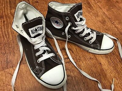 d88806aa8e08 CONVERSE ALL STAR HI TOPS Chocolate Brown Canvas Trainers Boots UK ...