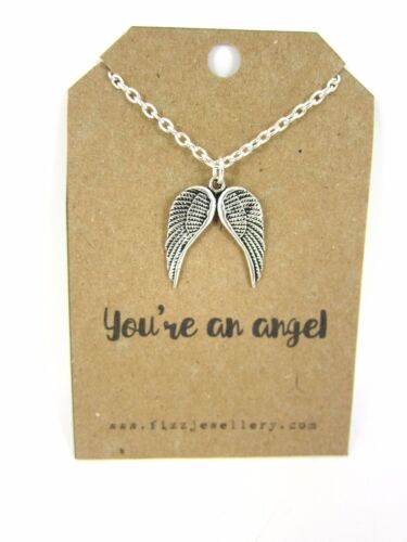 Mothers Day Silver Double Guardian Angel Wings on Card With a Quote Necklace New