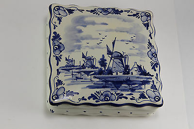 Delft Holland Hand Painted Ceramic Trinket Box Blue & White
