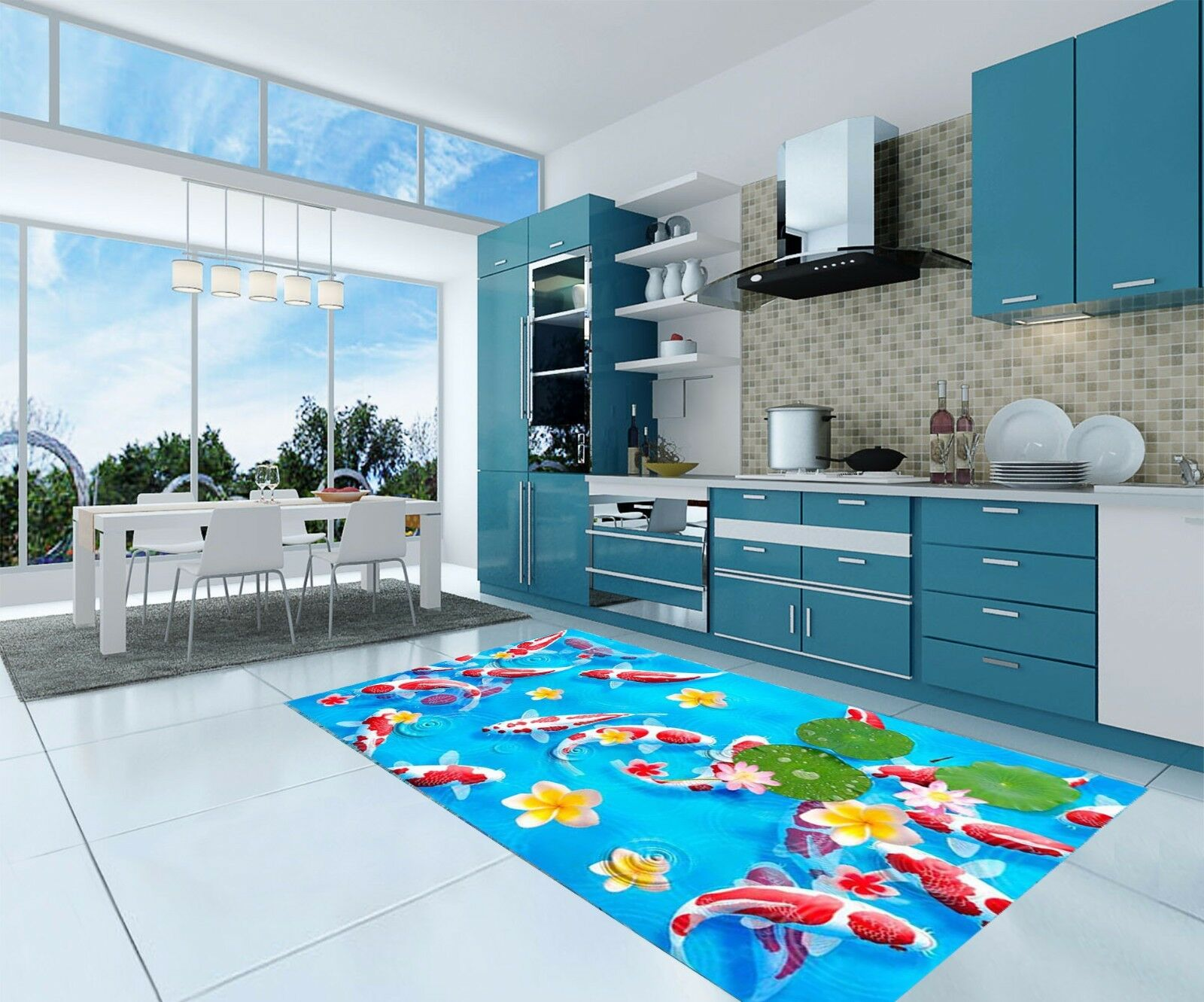 3D Farbe Fishes 8 Kitchen Mat Floor Murals Wall Print Wall Deco AJ WALLPAPER AU