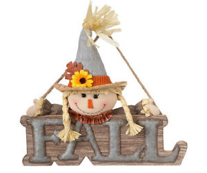 Wood-Metal-Fall-Harvest-Scarecrow-Hanger-Decorative-Front-Door-Harvest-Sign
