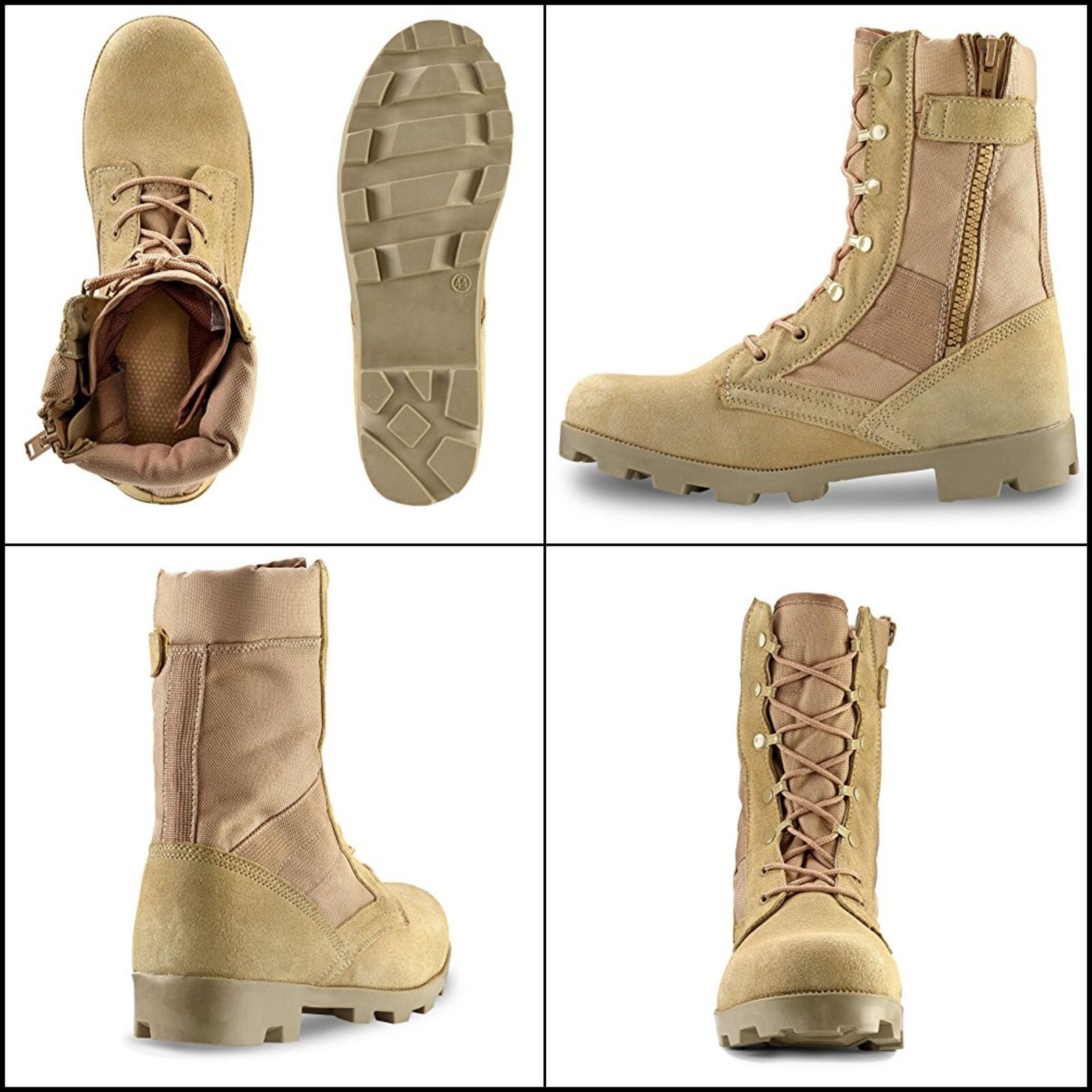 Mens Tan Work Boots Combat Military Army Work shoes Hiking  Hunting Boots