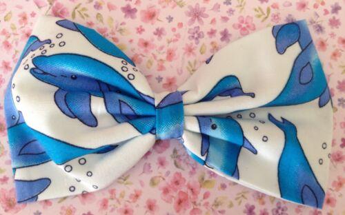 "5/"" WHITE BLUE DOLPHIN SEA LIFE PRINT COTTON FABRIC BOW HAIR CLIP HOLIDAY BEACH"
