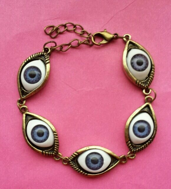 Scary Eyeball quirky Spooky kitsch Emo Funky Steampunk statement bracelet gift
