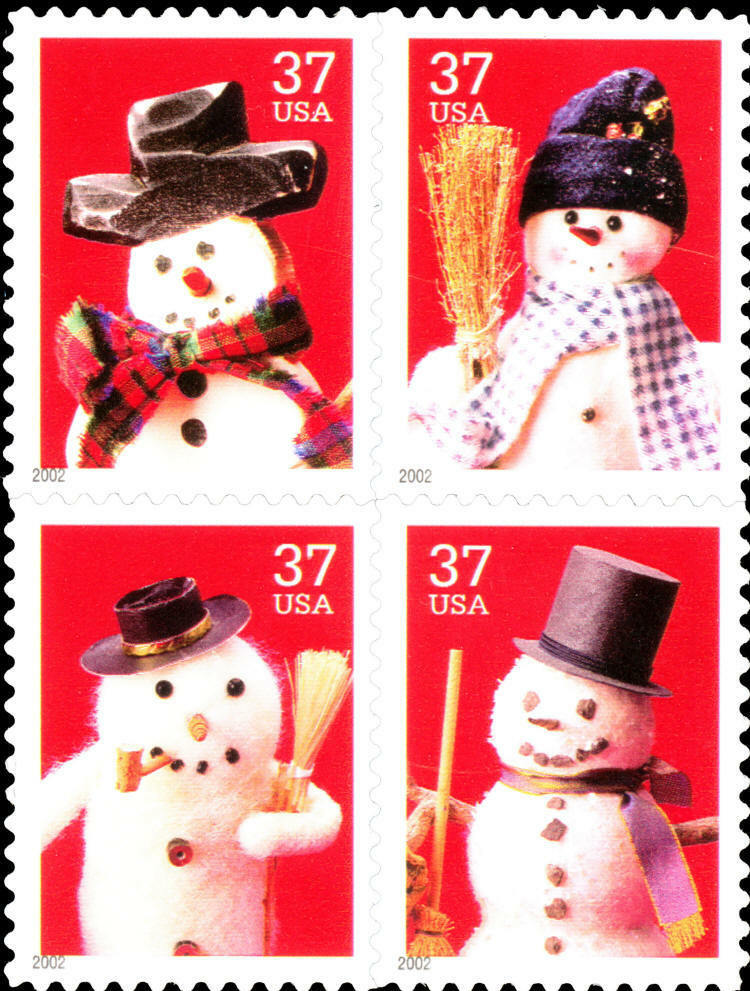 2002 37c Holiday Snowmen, Block of 4 Scott 3676-79 Mint