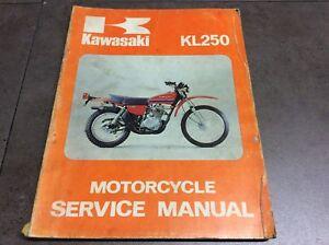 genuine kawasaki kl250 motorcycle service shop manual 99924 1002 01 rh ebay co uk kawasaki kl250 service manual free download kawasaki kl250 service manual download