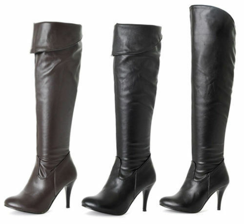 Womens Zip Spring Autumn High Heel Over Knee Ruched Long Boots shoes Plus Size