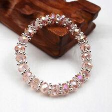 Women 8mm Handmade Rhinestone Crystal Silver Plated Bead Stretch Bracelet Bangle