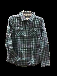 Cat /& Jack Boys/' Classic Flannel Plaid Button Down Shirt Blue NWT