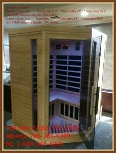 ZERO EMF two person corner sauna, biggest sauna for 15A regular outlet,   you can lay down corner to corner Canada Preview