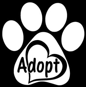 ADOPT-PAW-HEART-Vinyl-Decal-Sticker-Window-Wall-Bumper-Animal-Dog-Cat-Love-Pet