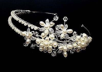 Silver Bridal Wedding Prom Pearl Crystal Princess Crown Tiara Headpiece H815