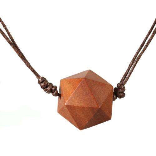 Collar ikosaeder Design cubo colgante de madera longitudes ajustable n309