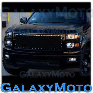 14-15-Chevy-Silverado-1500-Black-Direct-OE-Replacement-Rivet-Mesh-Grille-Shell