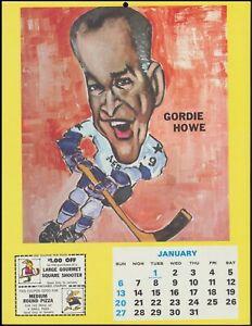 1974 Gordie Howe Little Caesars Pizza Calendar Page Vintage Hockey Rare NHL